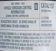 Picture of emission label