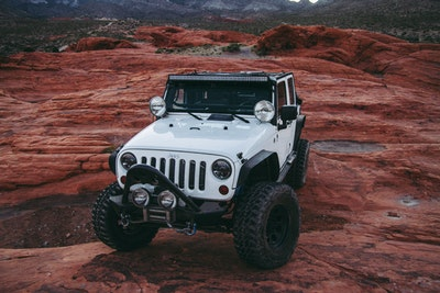 jeep on rock
